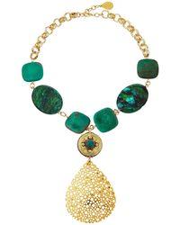 Devon Leigh - Chrysocolla & Opal Pear Pendant Necklace - Lyst