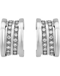 BVLGARI | B.zero1 18k White Gold Pave Diamond Hoop Earrings | Lyst