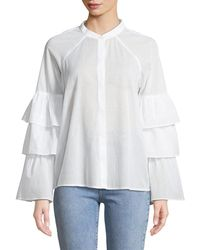 BCBGMAXAZRIA - Tiered-ruffle Sleeve Button Front Shirt - Lyst
