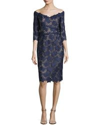 Liancarlo - Floral Guipure Lace Off-the-shoulder Cocktail Dress - Lyst