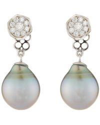 Belpearl - 18k Whispering Tahitian Pearl & Diamond Drop Earrings - Lyst