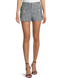 Romeo and Juliet Couture - Embroidered Gingham Shorts - Lyst