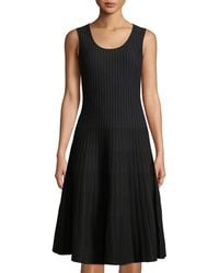 Tomas Maier - Sleeveless Striped Fit-and-flare Dress Black/white - Lyst