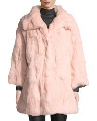 Adrienne Landau - Long Textured Rabbit Fur Coat - Lyst