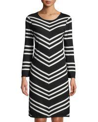 Neiman Marcus - Scoop-neck Long-sleeve Striped A-line Dress - Lyst