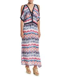 Saha - Mixed-print Split-sleeve Dress - Lyst