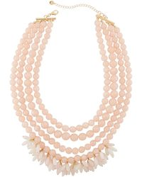 Lydell NYC - Multi-row Beaded Statement Necklace W/ Dangles Pink - Lyst