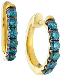 Jude Frances - 18k Jude Diamond Pave Hoop Earrings - Lyst