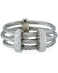 Alor - Linear Diamond 3-row Cable Ring Size 7 - Lyst