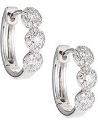 Neiman Marcus - 14k White Gold Diamond Halo Huggie Earrings - Lyst