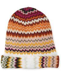 7daf9ddd301 Lyst - Missoni Zigzag Wool-blend Beanie Hat in Blue
