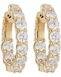 Neiman Marcus - 14k Yellow Gold Diamond Hoop Earrings 4.10tcw - Lyst