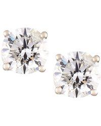 Neiman Marcus - 18k White Gold Round Diamond Solitaire Stud Earrings - Lyst
