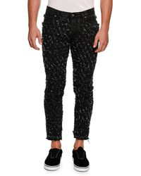 Dolce & Gabbana - Distressed Woven Slim Ankle Jeans - Lyst