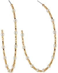 Lydell NYC - Pearly Beaded Hoop Earrings - Lyst