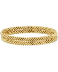 Chimento - 18k Yellow Gold Herringbone Bangle - Lyst