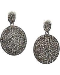 Bavna - Diamond Pave Disc Drop Earrings - Lyst