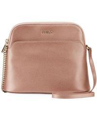 Furla - Miky Metallic Saffiano Leather Crossbody Bag - Lyst 92354e7e10eba