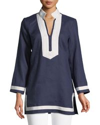 Sail To Sable - Long-sleeve Tape-trim Tunic Dress - Lyst