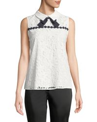 Karl Lagerfeld - Floral Lace Collared Blouse With Bow - Lyst