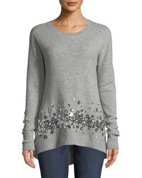 99dd18a82bbc Lyst - Neiman Marcus Cashmere Boat-neck Knit Tunic Sweater in Gray