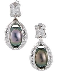 Belpearl - 14k Diamond Caged Pearl Drop Earrings - Lyst