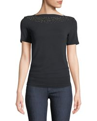 Carmen By Carmen Marc Valvo - Beaded-yoke Boat-neck Ribbed Tee - Lyst