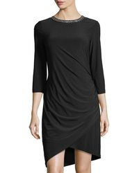 Chetta B - 3/4-sleeves Bead-neck Draped Dress - Lyst