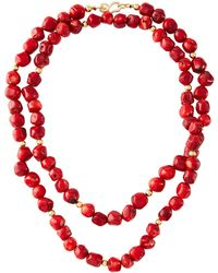 Kenneth Jay Lane - Dark Coral Bead Necklace 42l - Lyst
