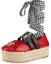 Miu Miu - Leather And Gingham-strap Platform Espadrille - Lyst