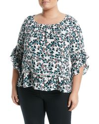 6e1853fde1187 Fever - 3 4-sleeve Floral-printed Ruffle Blouse Plus Size - Lyst