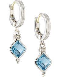 Judith Ripka - Cushion-cut Indigo Spinel Drop Earrings - Lyst
