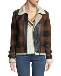 Dex - Check Plaid Flannel Coat With Sherpa Lining - Lyst
