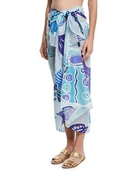 Anna Coroneo - Cotton Voile Shell Scarf Light Blue - Lyst