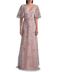 David Meister - Embroidered Flutter-sleeve Gown - Lyst