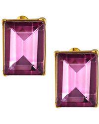 Kenneth Jay Lane - Rectangular Stone Stud Earrings Pink - Lyst