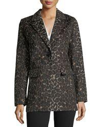 T Tahari - Kendall Leopard-print Single-breasted Coat - Lyst