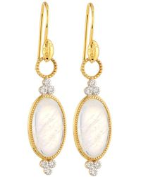 Jude Frances - Provence 18k Trio Oval Drop Earrings With Moonstone & Diamonds - Lyst