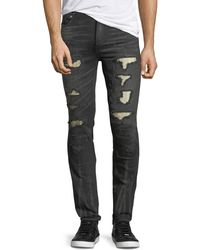 God's Masterful Children - Distressed Slim-straight Jeans With Metallo Backing - Lyst