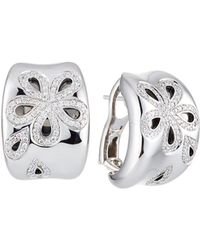Roberto Coin - 18k White Gold Fantasia Diamond Daisy Hoop Earrings - Lyst
