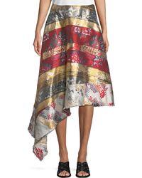 Adam Lippes - Silk-metallic Jacquard Side-drape Skirt - Lyst