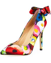 Neiman Marcus - Verity High-heel Floral Bow Pumps - Lyst