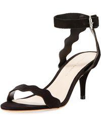 Loeffler Randall - Reina Scalloped Nubuck Sandals - Lyst