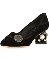 Dolce & Gabbana - Jackie Embroidered Velvet Block-heel Pumps - Lyst