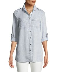 Dex - Button-front Striped Chambray Blouse - Lyst