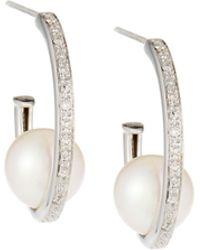 Belpearl - 14k White Gold Diamond Hoop & Pearl Earrings - Lyst