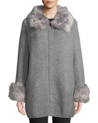 Love Token - Zip-up Jacket W/ Faux Fur Trim - Lyst