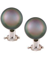 Belpearl | 14k Tahitian Pearl & Diamond Stud Earrings | Lyst