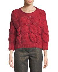 Brunello Cucinelli - Piuma-leaf 3/4-sleeve Sweater - Lyst