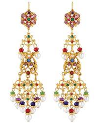 Jose & Maria Barrera - Long Filigree Crystal & Pearly Drop Earrings - Lyst